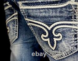 $220 Mens Rock Revival Jeans Nick White Leather Inserts Shorts 36
