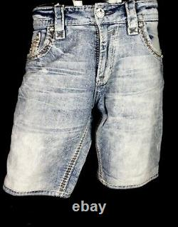 $220 Mens Rock Revival Jeans Norris Leather Inserts Faux Pockets Shorts 33