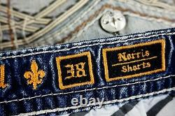 $220 Mens Rock Revival Jeans Norris Leather Inserts Faux Pockets Shorts 38