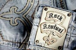$220 Mens Rock Revival Jeans Norris Leather Inserts Shorts 36