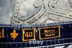 $220 Mens Rock Revival Jeans Norris White Leather Inserts Shorts Size 40