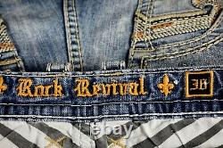 $220 Mens Rock Revival Jeans Pevey Leather Inserts Faux Shorts 36