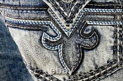 $220 Mens Rock Revival Jeans Pevey Water Wash Faux Leather Inserts Shorts 44