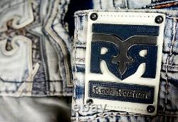 $220 Mens Rock Revival Jeans Rand Destroyed Pockets Leather Inserts Shorts 32