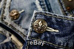 $220 Mens Rock Revival Jeans Remedy Fraying Shorts Leather Inserts Size 38