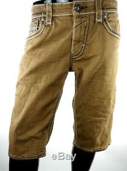 $220 Mens Rock Revival Jeans Rinks Desert Sand Leather Inserts Shorts Size 34