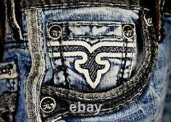 $220 Mens Rock Revival Jeans Seagar Leather Inserts Studs Faux Moto Shorts 34