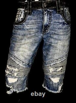 $220 Mens Rock Revival Jeans Seagar Leather Inserts Studs Faux Moto Shorts 40