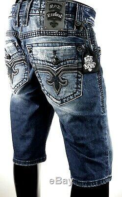 $220 Mens Rock Revival Jeans Spencer Leather Inserts Faux Shorts 32