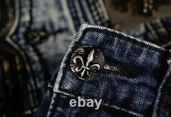 $220 Mens Rock Revival Jeans Spencer Leather Inserts Shorts 30