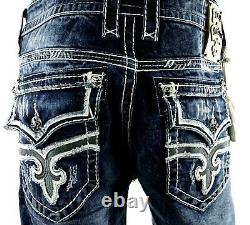 $220 Mens Rock Revival Jeans Stanley Leather Inserts Shorts Size 30
