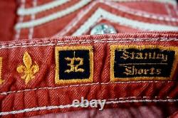 $220 Mens Rock Revival Jeans Stanley Watermelon Leather Inserts Shorts 32