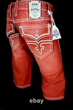 $220 Mens Rock Revival Jeans Stanley Watermelon Leather Inserts Shorts 33