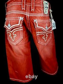 $220 Mens Rock Revival Jeans Stanley Watermelon Leather Inserts Shorts 34