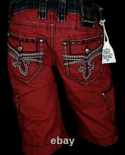 $220 Mens Rock Revival Jeans Studded Wine Leather Inserts Twill Faux Shorts 30