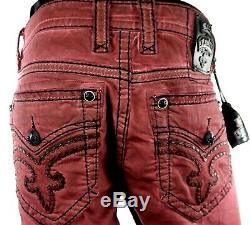 $220 Mens Rock Revival Jeans Trenton Burgundy Wine Black Leather Shorts 36