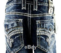 $220 Mens Rock Revival Jeans Trenton Tiger Stitch Leather Inserts Shorts 34