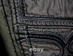 $220 Mens Rock Revival Jeans Twill Shorts Thick Picked Stitching Shorts 34