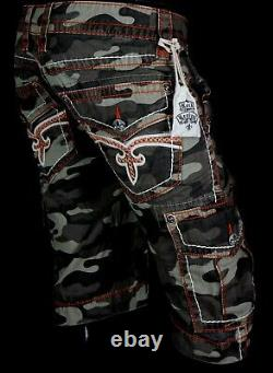 $220 Mens Rock Revival Jeans Volcano Camo Twill Leather Inserts Shorts 34