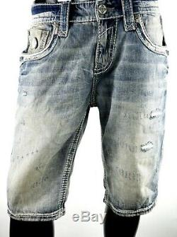 $220 Mens Rock Revival Jeans Wren Leather Inserts Faux Pockets Shorts 32