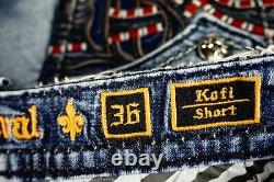 $220 Mens Rock Revival Kofi Shorts Blue Leather Inserts Blood Red Stitch 36
