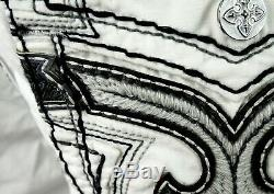 $220 Mens Rock Revival Miami Vice White Twill Leather Inserts Shorts 33