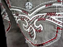 $220 Mens Rock Revival Ocean Burgundy Wine Leather Inserts Faux Shorts 40