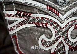 $220 Mens Rock Revival Ocean Burgundy Wine Leather Inserts Faux Shorts 42