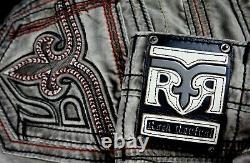 $220 Mens Rock Revival Red Stitch Leather Inserts Twill Shorts 32
