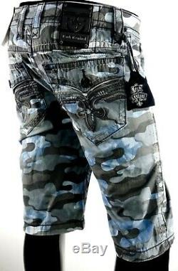 $220 Mens Rock Revival Sky Blue Cement Camo Leather Inserts Shorts Size 44