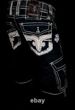 $220 Mens Rock Revival Thick Stitch Leather Inserts Black Twill Shorts 32