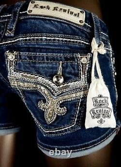 28$180 Buckle Rock Revival Betty Swarovski Champagne Leather Inserts Shorts 27