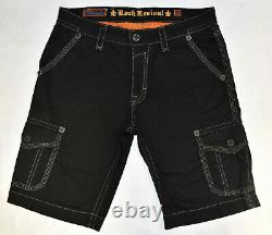 A5 NEW ROCK REVIVAL Black Cotton Grey Thick Stitched Cargo Shorts Size 36