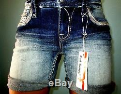 Buckle ROCK REVIVAL KATELL Easy Fit Mid-Rise Stretch Denim Shorts 26 Fit 27 NWT