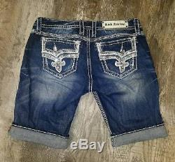 Buckle Rock Revival Betty Bermuda Stretch Long Shorts Embellished Jeanssize 30