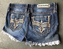 Dark Wash Lace Rock Revival Jean Shorts 30 W16.5 Plus Size Professionally Hemmed