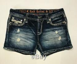 HOT! NeW ROCK REVIVAL RAVEN DARK WASH FLEUR DISTRESSED JEAN SHORTS SIZE 32