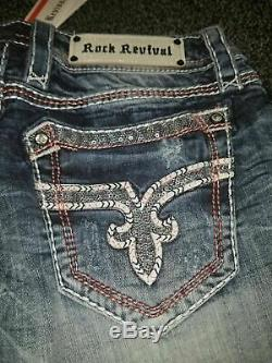 HOT! NeW ROCK REVIVAL WINDIE EMBELLISHED BLING JEAN SHORTS SIZE 32