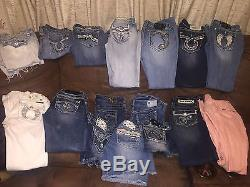 Lot Of 16 Rock Revival, Miss Me, Big Star, And Silver Size 28. Jeans, Capris, &Shorts
