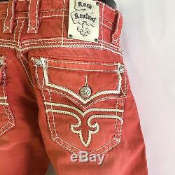 MENS ROCK REVIVAL JEAN SHORTS RED SIZE 34 44 NWT $139