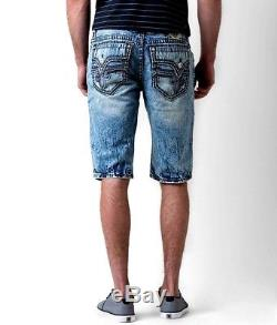 Men's Buckle NEW $139 ROCK REVIVAL PEVEY Shorts Faux Flap Distressed Mid-Rise 34