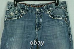 Men's ROCK REVIVAL Jeans'Andre' 36 Short Embellished Relaxed Fit Distressed