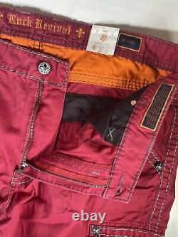 Men's Rock Revival Classic Cargo Shorts Red Size 40 Outseam 23
