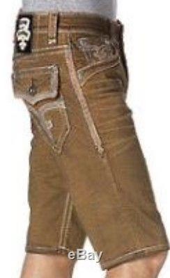 Mens Rock Revival Brown Jean Shorts Rinks Short Size 32 Brand New With Tags