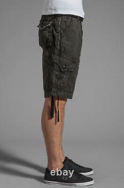 Mens Rock Revival Cargo Shorts Graphite Grey Cotton Flap Pocket 32 Used