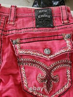 Mens Rock Revival Jeans Edwin Shorts Size 38 Red