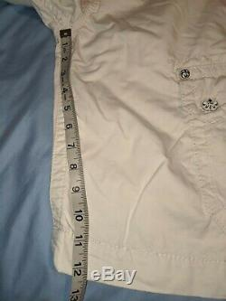 Mens Rock Revival Slim 34 / 24 White 6 Pocket Zip Fly Cargo Shorts Button Nice