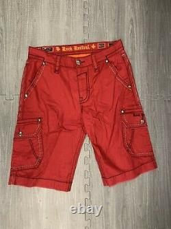 NEW Mens Rock Revival Blood Red Classic Cargo Shorts SZ 32 waist 24 inseam