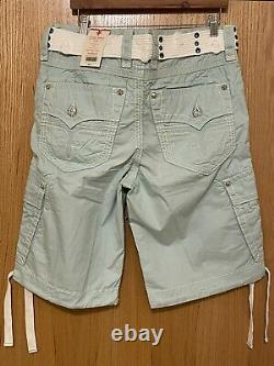 NEW ROCK REVIVAL Classic Cargo Mens Shorts with Belt RARE SEAFOAM COLOR SIZE 33