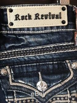 NEW! Rock Revival Noelle Stretch Cropped Cuffed Jean Shorts Size 24 NWT